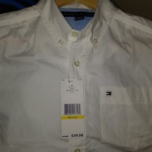 Tommy boys white button down shirt